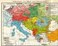 Racial map of central and South Europe, from F. W. Putzgers Historischer Schul-Atlas, 1905